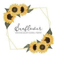 aquarel zonnebloem bloemen rustieke grens vector