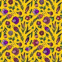 naadloze florale achtergrond met gestileerde kleuren vector