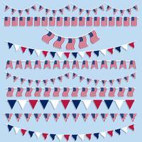 Amerikaanse vlaggenbunting en banners vector