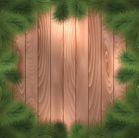 Kerstboomtakken op hout vector