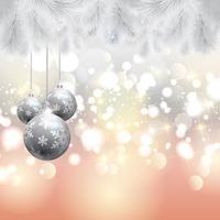 Kerstboom en snuisterijenachtergrond vector