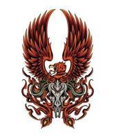 Phoenix illustratie met schedel. vuur van Phoenix-ontwerp voor kleding en koopwaar vector