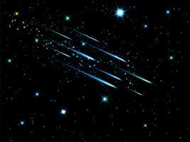 Nachtelijke hemel met vallende sterren vector