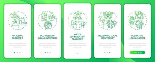 groen hotel beschikt over onboarding mobiele app-paginascherm met concepten vector