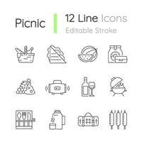 picknick lineaire pictogrammen instellen vector