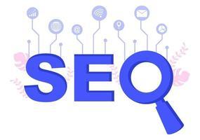 seo-optimalisatie vectorillustratie voor zoekmachine, app-ontwikkeling, webpagina's en bladwijzers. bestemmingspagina of sjabloon voor spandoek vector