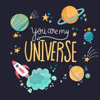 Schattig universum met planeten en letters met citaat vector