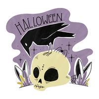 Spookachtige schedel met zwarte vogel vector