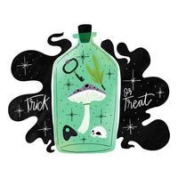 Mystieke groene fles met schimmels, schedel en heks elementen vector