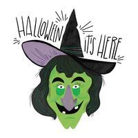 spooky heks karakter lachend met letters vector