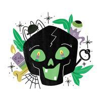 spookachtige zwarte schedel met halloween-elementen vector
