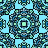 naadloze kleurrijke glazuurpatroon van mandala's. vector oosters patroon op heldere blauwe tinten. fee bloemmotief van cirkelvormige elementen.