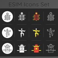 Aziatische cultuur donkere thema iconen set vector