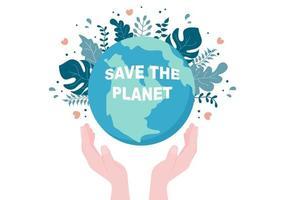 bewaar onze planeet aarde illustratie in een groene omgeving met een milieuvriendelijk concept en bescherming tegen natuurlijke schade vector