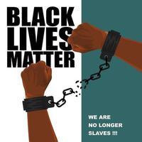 handen van een Afrikaanse Amerikaan in gebroken ketenen op een witte en blauwe achtergrond vector