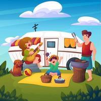 picknick met familie in het park vector