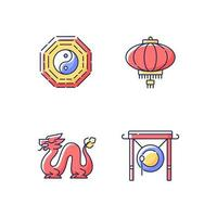 nieuwe maanjaar attributen RGB-kleur iconen set vector