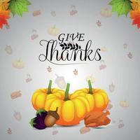 thanksgiving day uitnodiging achtergrond met creatieve pompoen vector