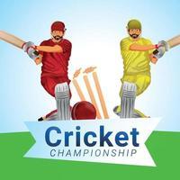 cricket kampioenschapstoernooi met vectorillustratie van cricketspeler en cricketapparatuur vector