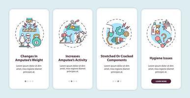 condities voor vervanging van prothesen onboarding app-paginascherm met concepten vector