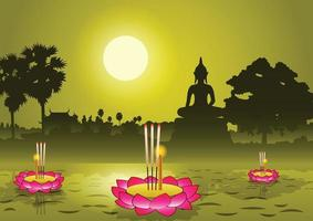 loy krathong-festival in thailand vector