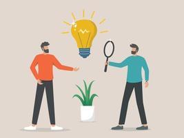 twee ondernemers die een bedrijfsidee analyseren vector
