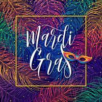 Mardi Gras belettering op veelkleurige veren vector