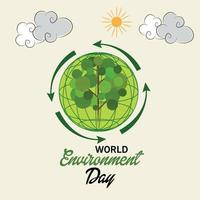 vectorillustratie van een achtergrond voor de dag van de wereldmilieu. vector