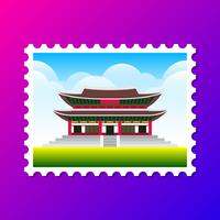 Gyeongbokgung Palace Zuid-Korea Postkaartillustratie vector