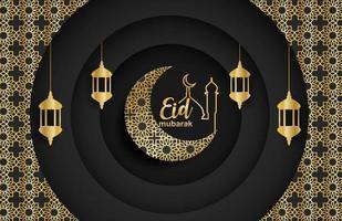 eid mubarak, ramadan mubarak achtergrond. ontwerp met maan, gouden lantaarn op zwarte achtergrond. vector. vector