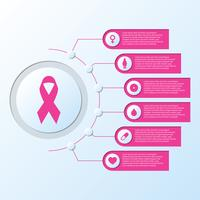 Borst kanker bewustzijn lint symbool met netwerk pijlen pictogrammen informatie grafische sjabloon vector