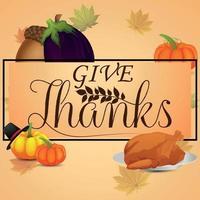 creatieve vectorillustratie van thanksgiving day wenskaart op creatieve achtergrond vector