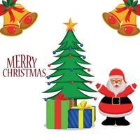 vrolijk kerstfeest uitnodiging vectorillustratie van santa clous en kerstboom met geschenken vector
