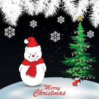 vrolijk kerstfeest wenskaart met vectorillustratie vector