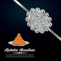 gelukkige raksha bandhan uitnodiging zilveren kristal rakhi met snoep vector