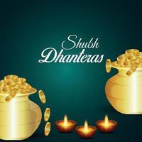 shubh dhanteras viering wenskaart met gouden muntenpot vector