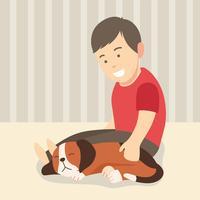 Jongen en zijn slapende hond