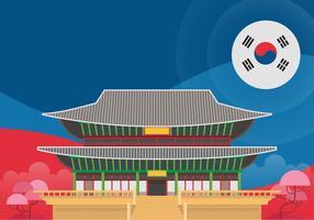 Gyeongbokgung Palace Postcard, Gyeongbokgung-symbool van Seoul, Korea vector