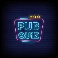 pub quiz neonreclames stijl tekst vector