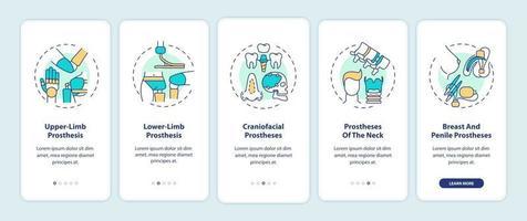 prothesetypes onboarding mobiele app-paginascherm met concepten vector