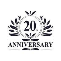 20-jarig jubileum, luxe 20-jarig jubileumlogo-ontwerp. vector