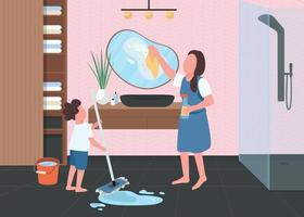 voorjaarsschoonmaak in badkamer egale kleur vectorillustratie vector