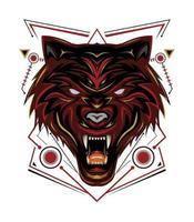 rood wolfslogo, wolvenvector, hoofdwolfillustratie voor t-shirt, wanddecoratie, telefoonhoesje en ander ontwerp vector