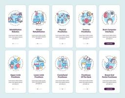 prothetische revalidatie onboarding mobiele app-paginascherm met ingestelde concepten vector
