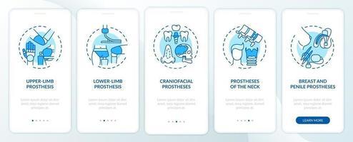 implantaten typen onboarding mobiele app-paginascherm met concepten vector