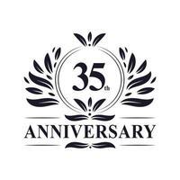 35-jarig jubileumfeest, luxe 35 jaar jubileum logo ontwerp. vector