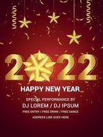 gelukkig nieuw jaar 2022 met gouden teksteffect op rode achtergrond vector