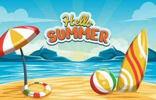 hallo zomer strand achtergrond vector