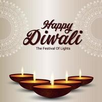 gelukkige diwali het festival van licht op witte achtergrond met diwali diya vector