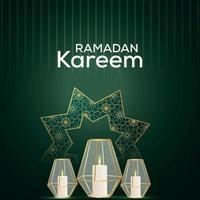 ramadan kareem uitnodigingsachtergrond met Arabische lantaarn vector